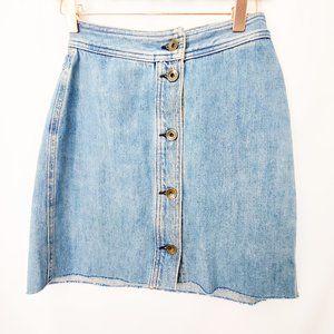 RAG & BONE Denim Button Front Mini Skirt Retro EUC